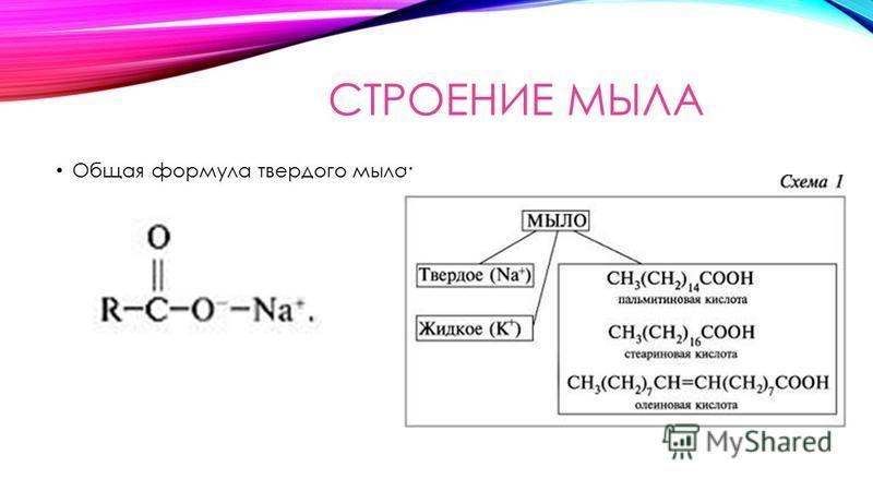 СТРОЕНИЕ МЫЛА Общая формула твердого мыла: