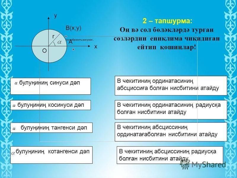 Блиц- соаллар 1 - соал : Градуслиқ /радианлиқ/ өлчәмдә берилгән булуңни радианлиқ / градуслиқ / өлчәмгә қандақ алмаштуришқа болиду?