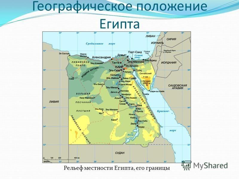 Географическое положение Египта Рельеф местности Египта, его границы