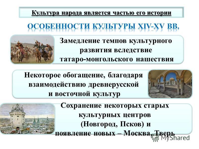 Культура народа является частью его истории Замедление темпов культурного развития вследствие татаро-монгольского нашествия Замедление темпов культурного развития вследствие татаро-монгольского нашествия Некоторое обогащение, благодаря взаимодействию