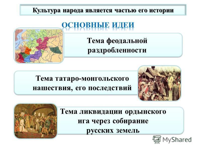 Культура народа является частью его истории Тема феодальной раздробленности Тема феодальной раздробленности Тема татаро-монгольского нашествия, его последствий Тема ликвидации ордынского ига через собирание русских земель Тема ликвидации ордынского и