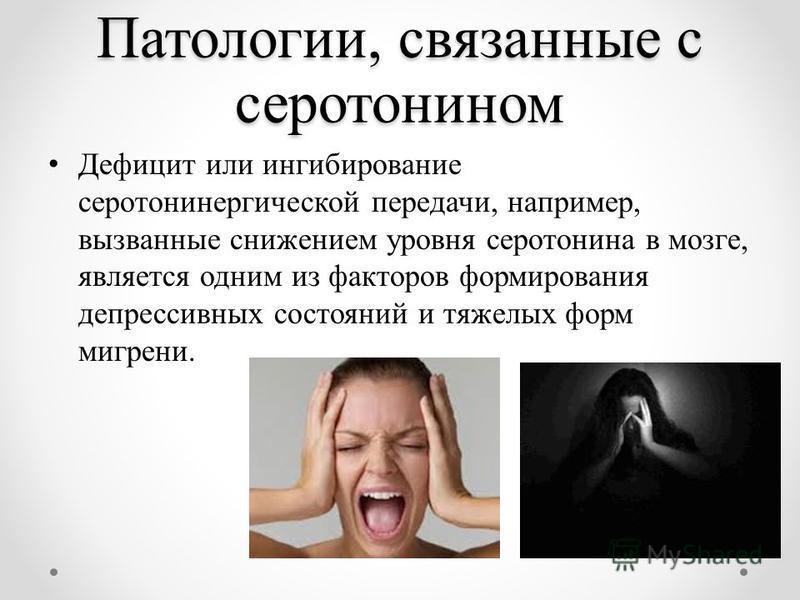 Патологии, связанные с серотонином Дефицит или ингибирование серотонинергической передачи, например, вызванные снижением уровня серотонина в мозге, является одним из факторов формирования депрессивных состояний и тяжелых форм мигрени.