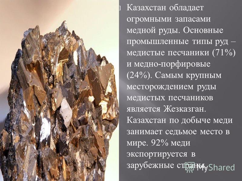 Казахстан обладает огромными запасами медной руды. Основные промышленные типы руд – медистые песчаники (71%) и медно - порфировые (24%). Самым крупным месторождением руды медистых песчаников является Жезказган. Казахстан по добыче меди занимает седьм