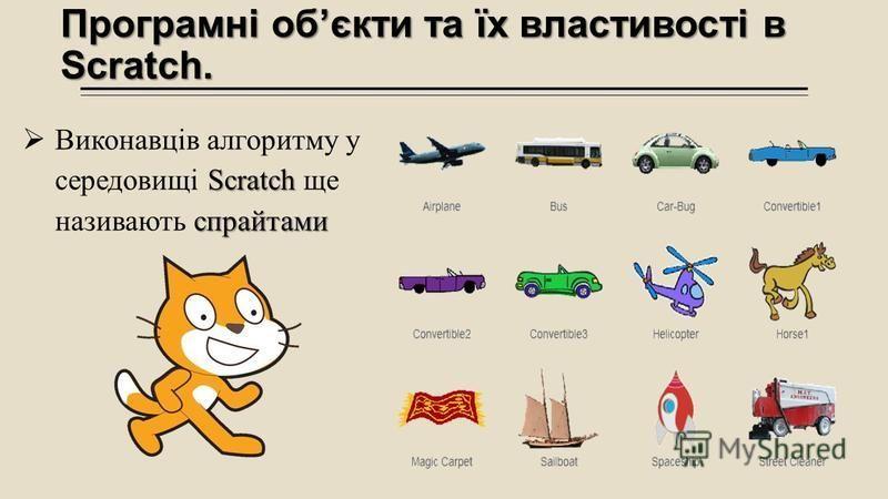 Програмні обєкти та їх властивості в Scratch. Scratch спрайтами Виконавців алгоритму у середовищі Scratch ще називають спрайтами
