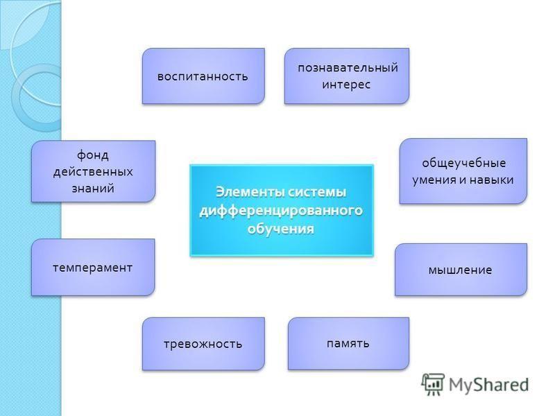 Элементы системы дифференцированного обучения познавательный интерес общеучебные умения и навыки фонд действенных знаний мышление память тревожность темперамент воспитанность