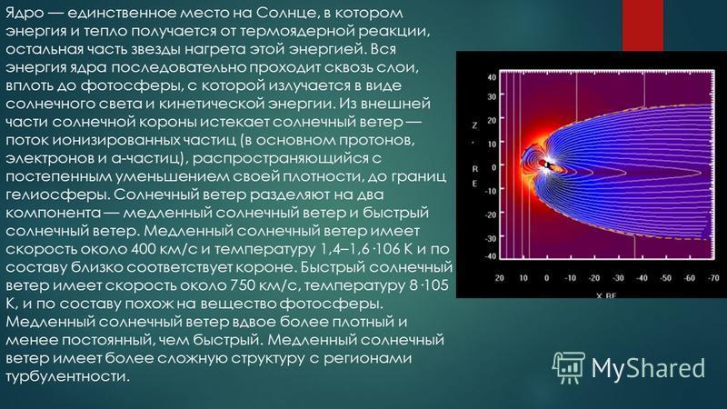 Ядро единственное место на Солнце, в котором энергия и тепло получается от термоядерной реакции, остальная часть звезды нагрета этой энергией. Вся энергия ядра последовательно проходит сквозь слои, вплоть до фотосферы, с которой излучается в виде сол