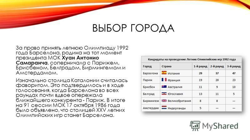 ВЫБОР ГОРОДА За право принять летнюю Олимпиаду 1992 года Барселона, родина на тот момент президента МОК Хуан Антонио Самаранча, соперничала с Парижем, Брисбеном, Белградом, Бирмингемом и Амстердамом. Изначально столица Каталонии считалась фаворитом.