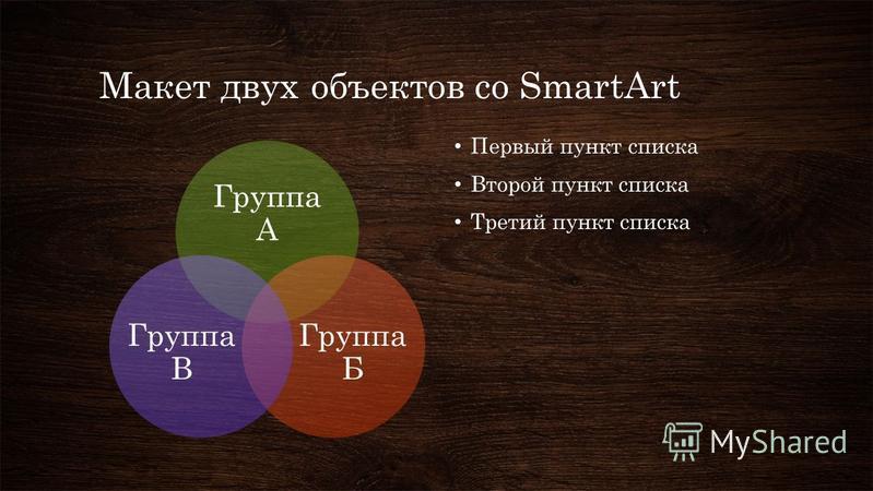 Макет двух объектов со SmartArt Группа А Группа Б Группа В Первый пункт списка Второй пункт списка Третий пункт списка