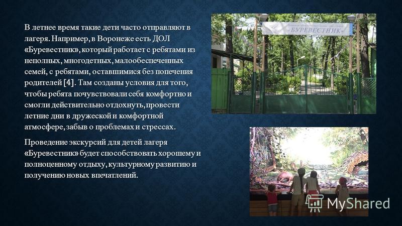 В летнее время такие дети часто отправляют в лагеря. Например, в Воронеже есть ДОЛ « Буревестник », который работает с ребятами из неполных, многодетных, малообеспеченных семей, с ребятами, оставшимися без попечения родителей [4]. Там созданы условия