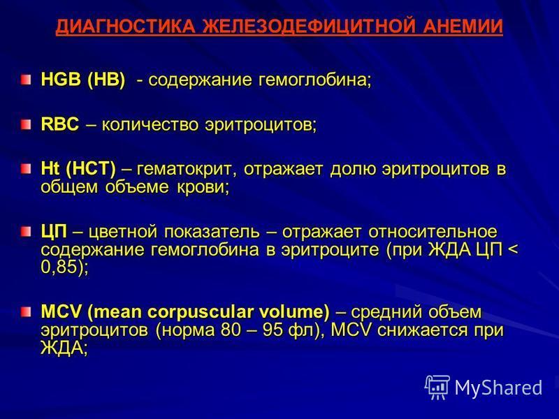 ДИАГНОСТИКА ЖЕЛЕЗОДЕФИЦИТНОЙ АНЕМИИ HGB (HB) - содержание гемоглобина; RBC – количество эритроцитов; Ht (HCT) – гематокрит, отражает долю эритроцитов в общем объеме крови; ЦП – цветной показатель – отражает относительное содержание гемоглобина в эрит