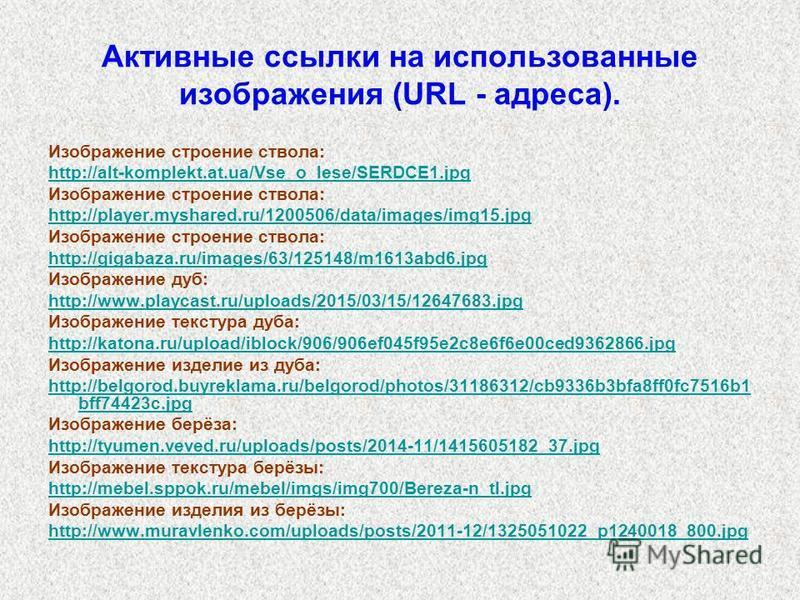 Активные ссылки на использованные изображения (URL - адреса). Изображение строение ствола: http://alt-komplekt.at.ua/Vse_o_lese/SERDCE1. jpg Изображение строение ствола: http://player.myshared.ru/1200506/data/images/img15. jpg Изображение строение ст