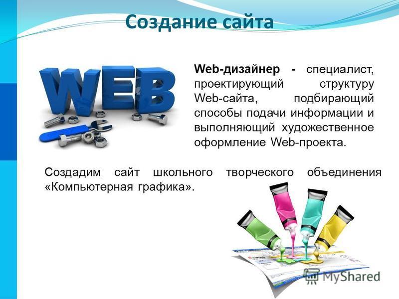 Создание сайта Web-дизайнер - специалист, проектирующий структуру Web-сайта, подбирающий способы подачи информации и выполняющий художественное оформление Web-проекта. Создадим сайт школьного творческого объединения «Компьютерная графика».