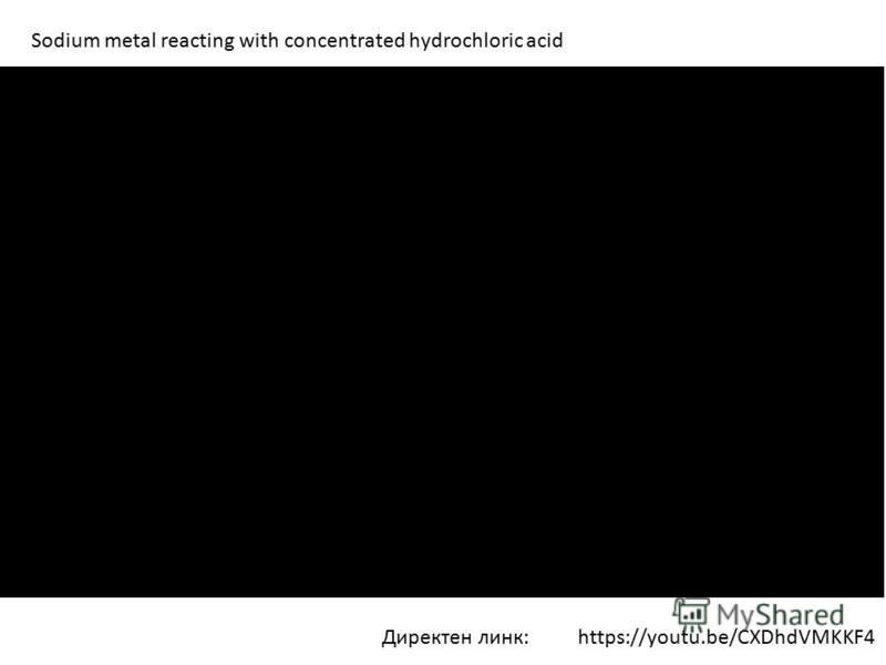 Директен линк: Sodium metal reacting with concentrated hydrochloric acid https://youtu.be/CXDhdVMKKF4