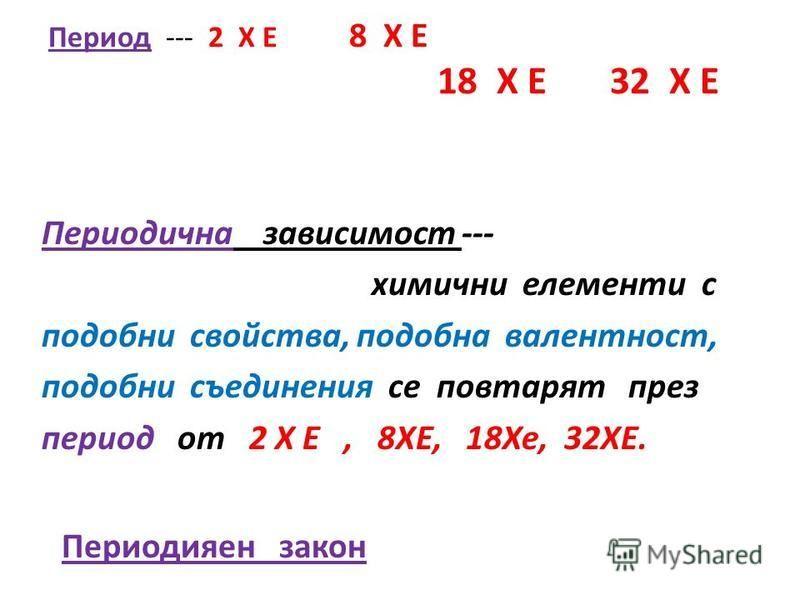 Период --- 2 Х Е 8 Х Е 18 Х Е 32 Х Е Периодична зависимост --- химични елементи с подобни свойства, подобна валентност, подобни съединения се повтарят през период от 2 Х Е, 8ХЕ, 18Хе, 32ХЕ. Периодияен закон