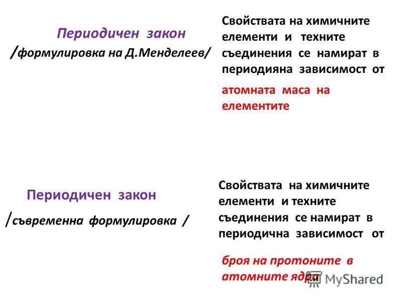 Периодичен закон / формулировка на Д.Менделеев/ Периодичен закон / съвременна формулировка / Свойствата на химичните елементи и техните съединения се намират в периодияна зависимост от атомната маса на елементите Свойствата на химичните елементи и те