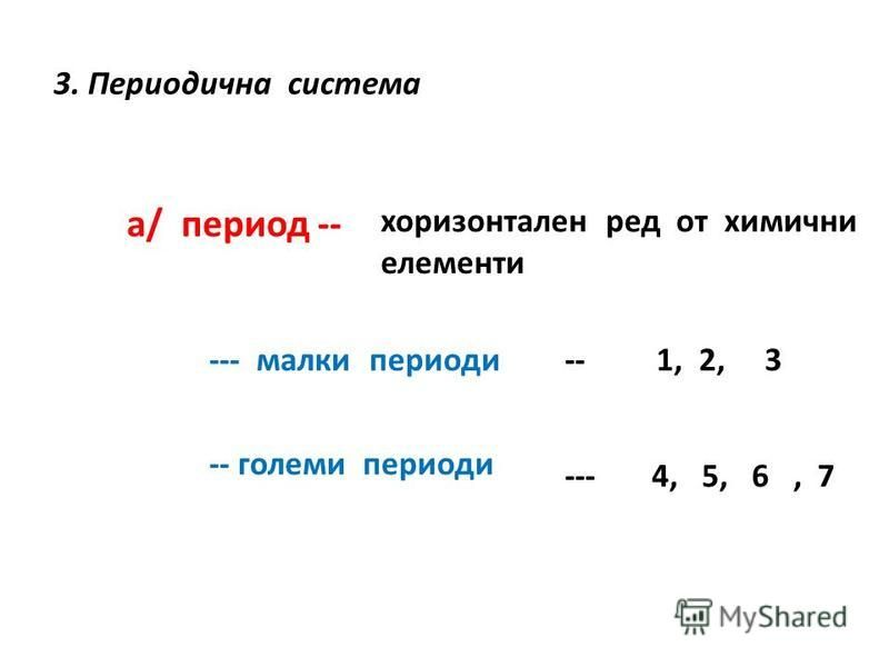 3. Периодична система а/ период -- хоризонтален ред от химични елементи --- малки периоди -- големи периоди -- 1, 2, 3 --- 4, 5, 6, 7