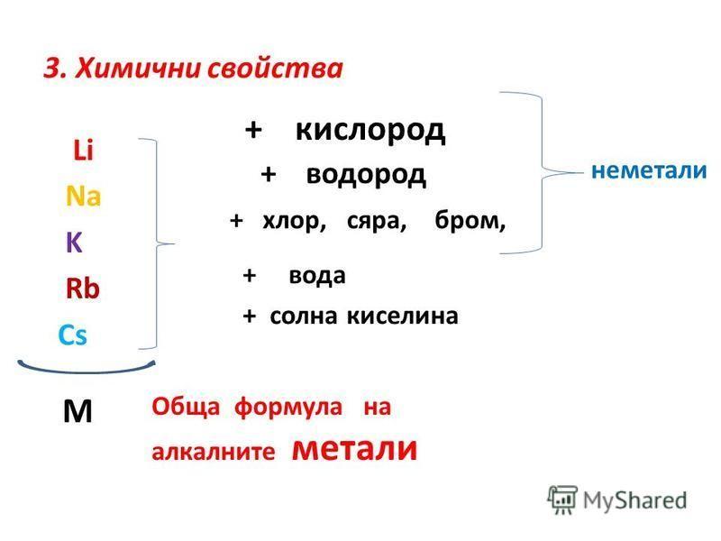 3. Химични свойства Li Na K Rb Cs + кислород + водород + хлор, сяра, бром, неметали + вода + солна киселина М Обща формула на алкалните метали