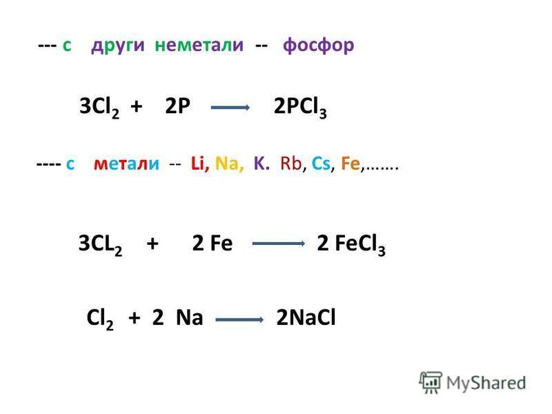 --- с други неметали -- фосфор ---- с метали -- Li, Na, K. Rb, Cs, Fe,……. 3Cl 2 + 2P 2PCl 3 3CL 2 + 2 Fe 2 FeCl 3 Cl 2 + 2 Na 2NaCl