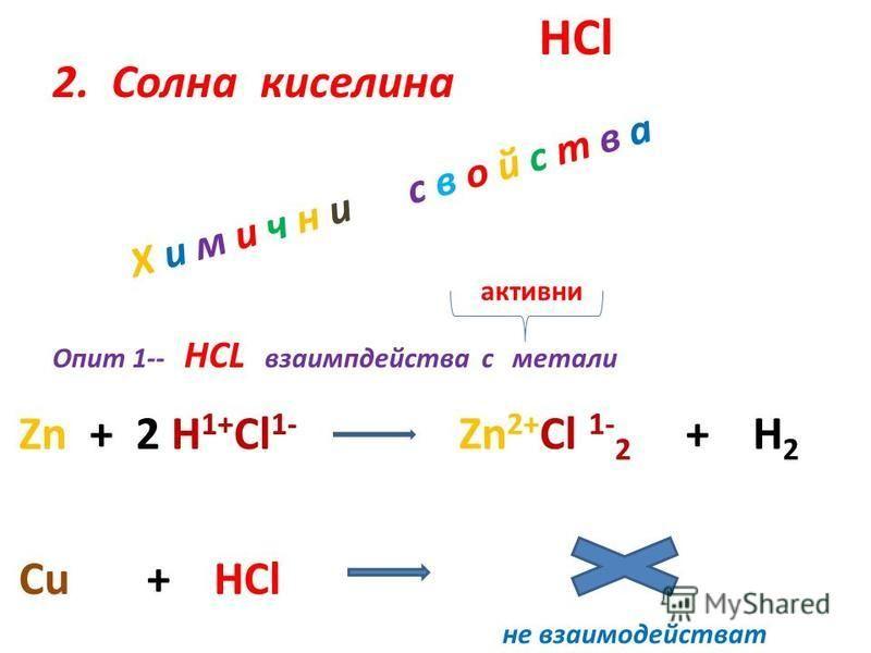 2. Солна киселина Х и м и ч н и с в о й с т в а HCl Опит 1-- HCL взаимпдейства с метали Zn + 2 H 1+ Cl 1- Zn 2+ Cl 1- 2 + H 2 Cu + HCl не взаимодействат активни