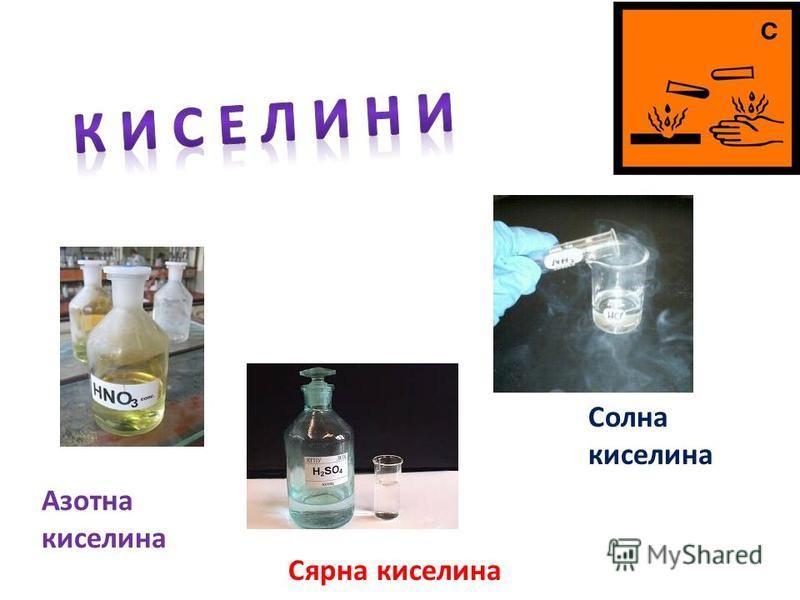 Солна киселина Азотна киселина Сярна киселина
