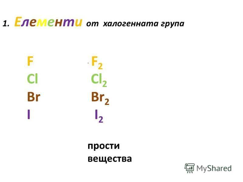1. Елементи от халогенната група F Cl Br I - F 2 Cl 2 Br 2 I 2 прости вещества