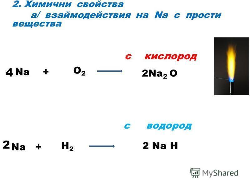 2. Химични свойства а/ взаймодействия на Na с прости вещества с кислород с водород Na + O2O2 2Na 2 O Na + H2H2 2 Na H 4 2