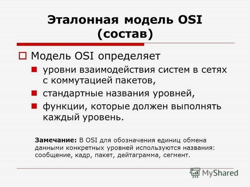 Эталонная модель OSI (состав) Модель OSI определяет уровни взаимодействия систем в сетях с коммутацией пакетов, стандартные названия уровней, функции, которые должен выполнять каждый уровень. Замечание: В OSI для обозначения единиц обмена данными кон