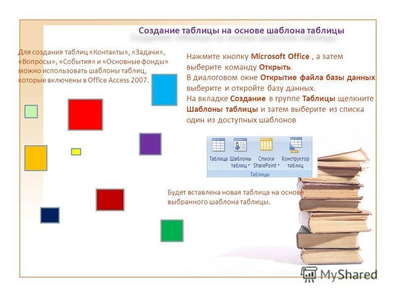 Создание таблицы на основе шаблона таблицы Для создания таблиц «Контакты», «Задачи», «Вопросы», «События» и «Основные фонды» можно использовать шаблоны таблиц, которые включены в Office Access 2007. Нажмите кнопку Microsoft Office, а затем выберите к