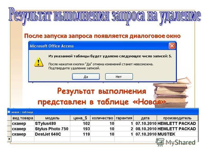 После запуска запроса появляется диалоговое окно Результат выполнения представлен в таблице «Новая»