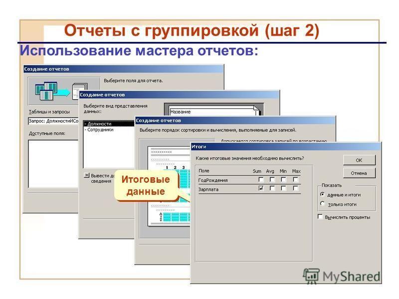 Отчеты с группировкой (шаг 2) Использование мастера отчетов: Итоговые данные