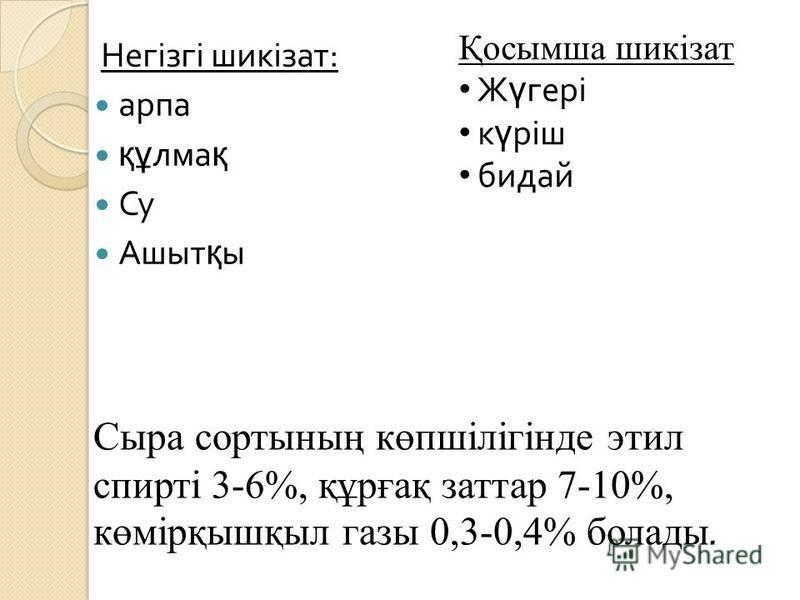Негізгі шикізат : арпа құ лма қ Су Ашыт қ ы Қосымша шикізат Ж ү гері к ү ріш бидай Сыра сортының көпшілігінде этил спирті 3-6%, құрғақ заттар 7-10%, көмірқышқыл газы 0,3-0,4% болады.