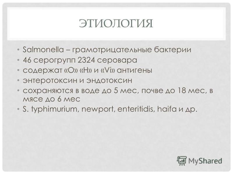 ЭТИОЛОГИЯ Salmonella – грамотрицательные бактерии 46 серогрупп 2324 серовара содержат «O» «H» и «Vi» антигены энтеротоксин и эндотоксин сохраняются в воде до 5 мес, почве до 18 мес, в мясе до 6 мес S. typhimurium, newport, enteritidis, haifa и др.
