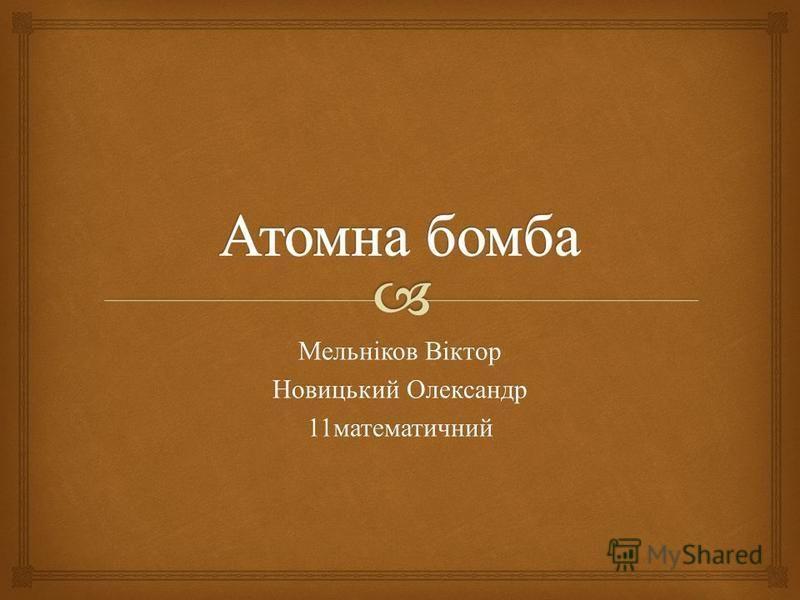 Мельніков Віктор Новицький Олександр 11 математичний