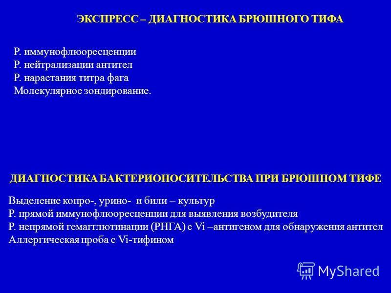 Р. иммунофлуоресценции Р. нейтрализации антител Р. нарастания титра фага Молекулярное зондирование. ЭКСПРЕСС – ДИАГНОСТИКА БРЮШНОГО ТИФА ДИАГНОСТИКА БАКТЕРИОНОСИТЕЛЬСТВА ПРИ БРЮШНОМ ТИФЕ Выделение копро-, юрино- и били – культур Р. прямой иммунофлуор