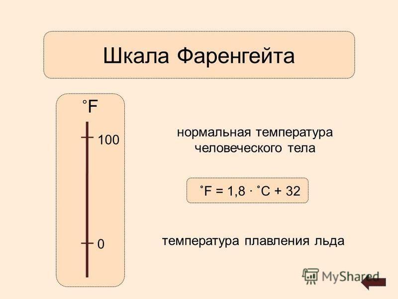 Шкала Фаренгейта ˚F˚F 0 100 нормальная температура человеческого тела температура плавления льда ˚F = 1,8 ˚С + 32