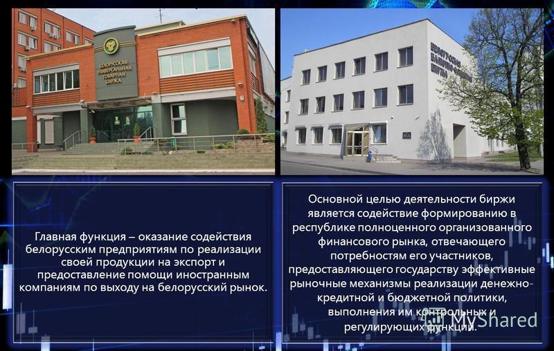 Главная функция – оказание содействия белорусским предприятиям по реализации своей продукции на экспорт и предоставление помощи иностранным компаниям по выходу на белорусский рынок. Основной целью деятельности биржи является содействие формированию в