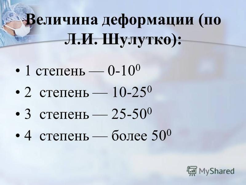 Величина деформации (по Л.И. Шулутко): 1 степень 0-10 0 2 степень 10-25 0 3 степень 25-50 0 4 степень более 50 0