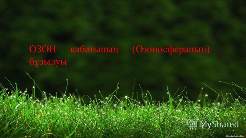 ОЗОН қабатының (Озоносфераның) бұзылуы