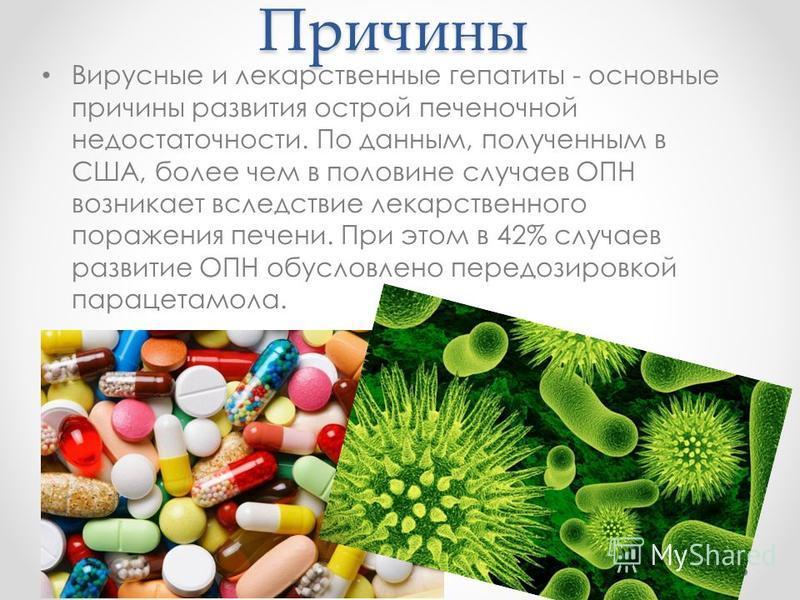 Причины Вирусные и лекарственные гепатиты - основные причины развития острой печеночной недостаточности. По данным, полученным в США, более чем в половине случаев ОПН возникает вследствие лекарственного поражения печени. При этом в 42% случаев развит