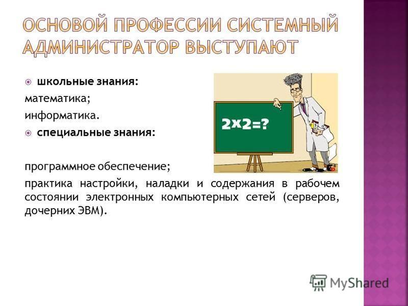 школьные знания: математика; информатика. специальные знания: программное обеспечение; практика настройки, наладки и содержания в рабочем состоянии электронных компьютерных сетей (серверов, дочерних ЭВМ).
