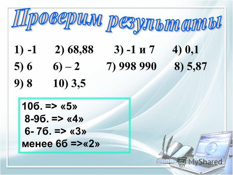 1)-1 2) 68,88 3) -1 и 7 4) 0,1 5) 6 6) – 2 7) 998 990 8) 5,87 9) 8 10) 3,5 10 б. => «5» 8-9 б. => «4» 6- 7 б. => «3» менее 6 б =>«2»