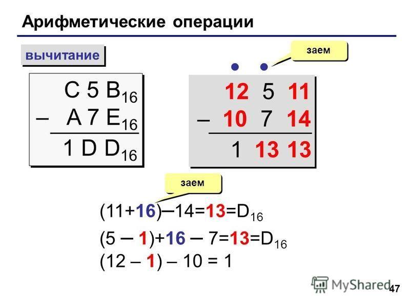 47 Арифметические операции вычитание С 5 B 16 – A 7 E 16 С 5 B 16 – A 7 E 16 заем 1 D D 16 12 5 11 – 10 7 14 12 5 11 – 10 7 14 (11+16) – 14=13=D 16 (5 – 1)+16 – 7=13=D 16 (12 – 1) – 10 = 1 заем 131