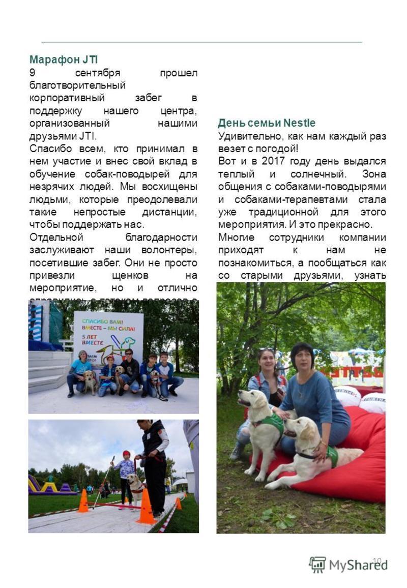 Марафон JTI 9 сентября прошел благотворительный корпоративный забег в поддержку нашего центра, организованный нашими друзьями JTI. Спасибо всем, кто принимал в нем участие и внес свой вклад в обучение собак-поводырей для незрячих людей. Мы восхищены