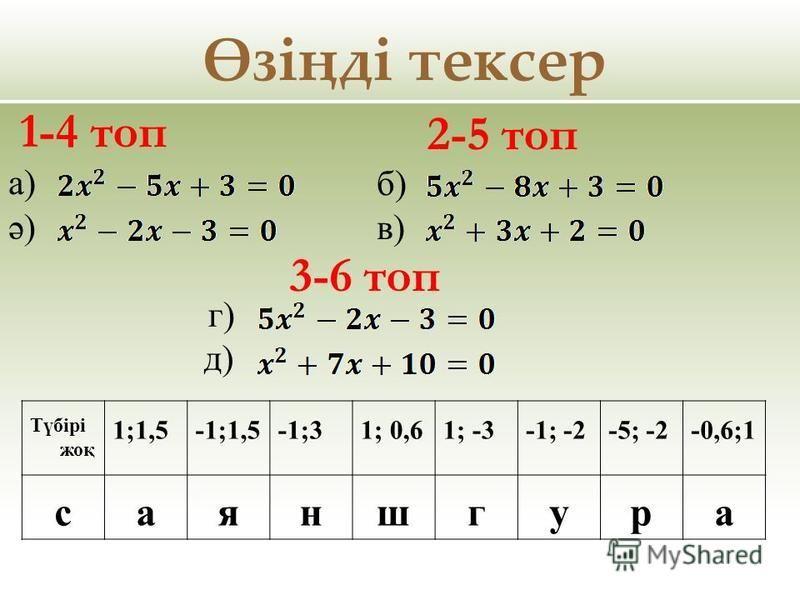 Өзіңді тексер а) ә) 1-4 топ 2-5 топ б) в) Түбірі жоқ 1;1,5-1;1,5-1;31; 0,61; -3-1; -2-5; -2-0,6;1 саяншгура 3-6 топ г) д)
