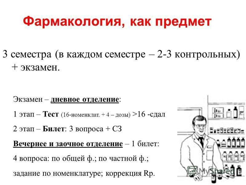 Фармакология, как предмет 3 семестра (в каждом семестре – 2-3 контрольных) + экзамен. Желательно – восприятие препаратов «визуально и тактильно» (практика в аптеке или ЛПУ) Экзамен – дневное отделение: 1 этап – Тест (16-номенклат. + 4 – дозы) >16 -сд