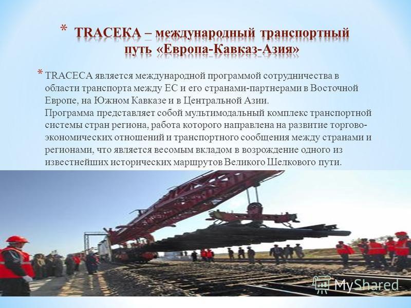 * TRACECA является международной программой сотрудничества в области транспорта между ЕС и его странами-партнерами в Восточной Европе, на Южном Кавказе и в Центральной Азии. Программа представляет собой мультимодальный комплекс транспортной системы с