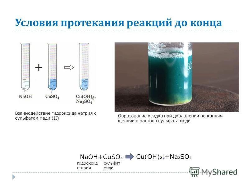 Образование осадка при добавлении по каплям щелочи в раствор сульфата меди Взаимодействие гидроксида натрия с сульфатом меди (II) NaOH+CuSO 4 Cu(OH) 2 +Na 2 SO 4 гидроксид натрия сульфат меди