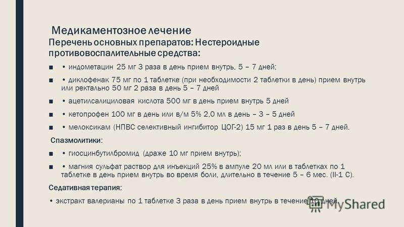 Медикаментозное лечение Перечень основных препаратов: Нестероидные противовоспалительные средства: индометацин 25 мг 3 раза в день прием внутрь, 5 – 7 дней; диклофенак 75 мг по 1 таблетке (при необходимости 2 таблетки в день) прием внутрь или ректаль