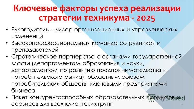 Ключевые факторы успеха реализации стратегии техникума - 2025 Руководитель – лидер организационных и управленческих изменений Высокопрофессиональная команда сотрудников и преподавателей Стратегическое партнерство с органами государственной власти (де