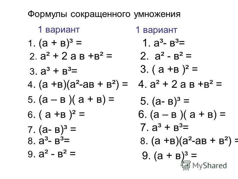 6. ( а +в )² = 9. а² - в² = 3. а³ + в³= 2. а² + 2 а в +в² = 5. (а – в )( а + в) = 8. а³- в³= 4. (а +в)(а²-ав + в²) = 1. (а + в)³ = 7. (а- в)³ = Формулы сокращенного умножения 1 вариант 1. а³- в³= 2. а² - в² = 8. (а +в)(а²-ав + в²) = 3. ( а +в )² = 4.